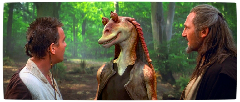 Vamers-FYI-Movies-Jar-Jar-Binks-was-Meant-to-Die-in-The-Phantom-Menace-Jar-Jar-Binks-with-Obi-Wan-and-Qui-Gon-Jin